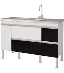 balcao cozinha prisma puxador perfil 1,44 metros branco e preto