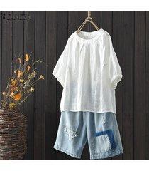 zanzea mujeres más tamaño normal básico de cuello redondo camisetas superiores camisa oficina de trabajo de la blusa del algodón -blanquecino
