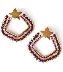 aretes mujer tejido violeta amme estrella