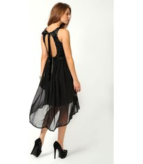 sequin top open back chiffon dip hem dress, black
