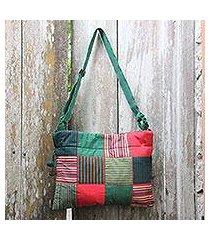cotton shoulder bag, 'legendary green' (indonesia)