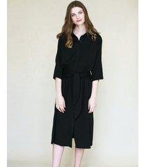 sukienka koszulowa z wiązaniem czarna