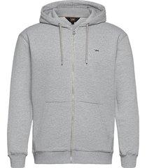 basic zip through ho hoodie grå lee jeans