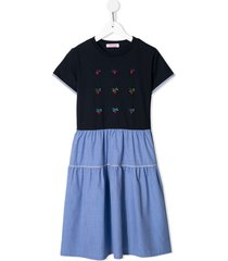 familiar jersey and chambray flared dress - blue