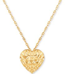 """textured heart 17"""" pendant necklace in 10k gold"""