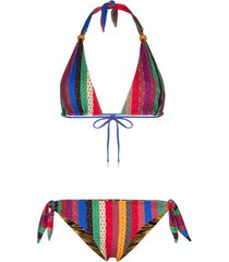 etro reversible striped bikini - brown