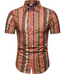 camisa tribal de rayas de vacaciones de verano de algodón casual para hombres