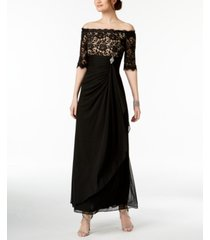 b & a by betsy & adam off-the-shoulder lace gown