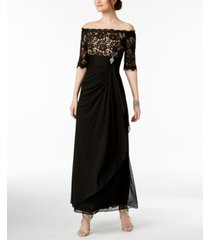 betsy & adam petite ruched off-the-shoulder gown