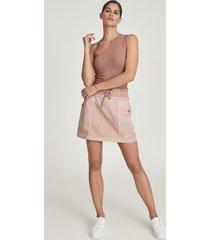 reiss mara - cotton blend jersey mini skirt in blush, womens, size 14