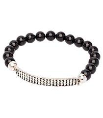 jos. a. bank onyx bead silver-tone plate bracelet clearance