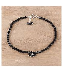 onyx beaded anklet, 'appealing beauty in black' (india)