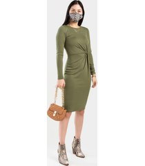 allison twist midi dress - olive