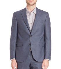 saks fifth avenue men's modern single-breasted wool blazer - blue - size 42 l