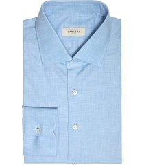 camicia da uomo su misura, canclini, flanella twill azzurra, autunno inverno | lanieri