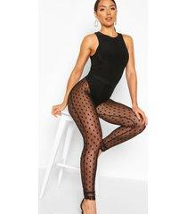 large dobby mesh spot leggings, black