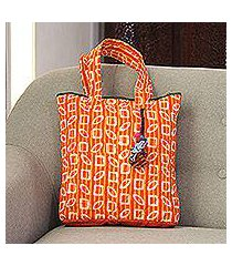 batik cotton tote, 'bright stripes' (india)