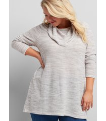 lane bryant women's cowl-neck subtle swing tunic 10/12 ash