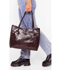 womens want a day thing croc tote bag - chocolate