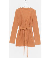 womens oh fuck knit belted longline cardigan - camel