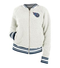 5th & ocean women's tennessee titans sherpa bomber jacket