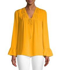 kobi halperin women's mia tie-front silk blouse - ochre - size xs