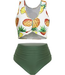 pineapple twist front ruched high waisted plus size tankini swimsuit