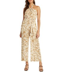 women's willow monaco print halter jumpsuit, size medium regular - beige