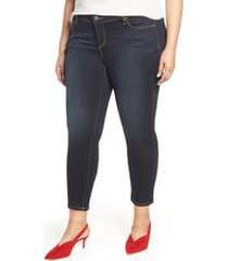plus size women's slink jeans stretch ankle skinny jeans, size 12w - blue