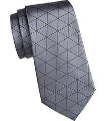 triangle print silk tie
