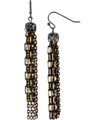 2028 women's black tone and gold tone tassel drop earrings