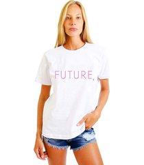 camiseta feminina joss future rosa branco