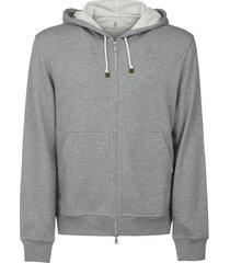 brunello cucinelli classic plain zipped hoodie