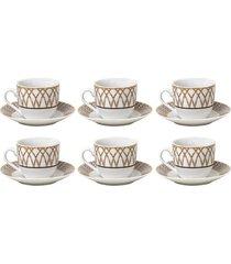 jogo de xícaras para café em porcelana wolff bamboo 6 peças 90ml