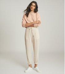 reiss bridgette - loungewear sweatshirt with seam detail in apricot, womens, size l
