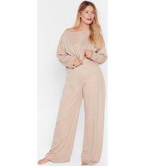 womens call it off-the-shoulder plus pants lounge set - oatmeal