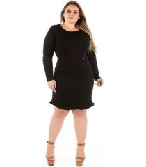 vestido confidencial extra plus size jeans com babado lucky black