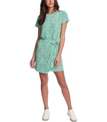 1.state folk silhouette floral-print short dress