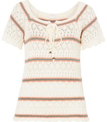 maglia traforata (bianco) - rainbow