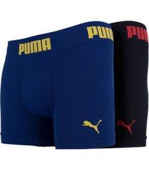 kit de cuecas boxer sem costura puma com 2 unidades - adulto - preto/azul esc