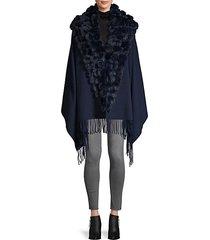 wool & cashmere-blend rabbit fur-trim shawl