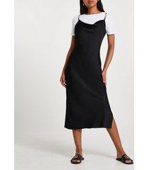 river island womens black cowl neck midi dress with t-shirt