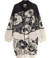 floral jacquard knit coat