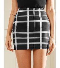 falda de cintura elástica a cuadros negros yoins