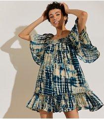 river island womens navy short sleeve shirred tie dye mini dress