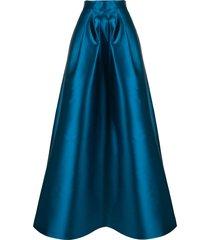 alberta ferretti silk satin full skirt - blue