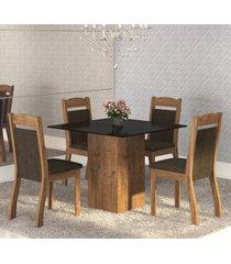 mesa de jantar 4 lugares brilho dover/chocolate/preto - mobilarte