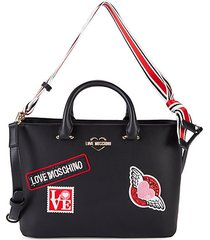 embroidered patch faux leather tote