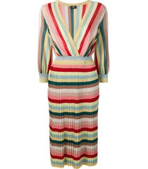 elisabetta franchi striped sweater dress - pink