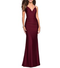 women's la femme strappy back ruched trumpet gown, size 10 - burgundy